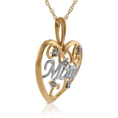 Diamond Heart 'Mom' Pendant 14K