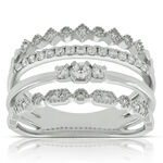 Four Band Stacked Diamond Ring 14K