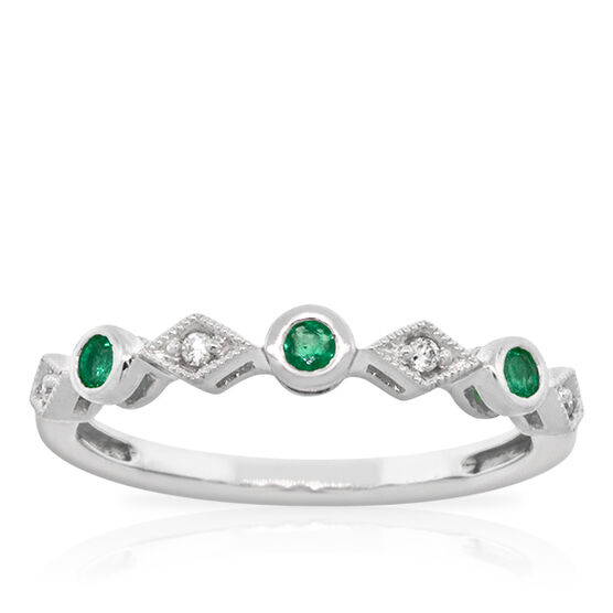 Emerald & Diamond Stackable Ring 14K