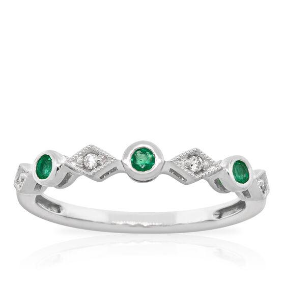 Emerald & Diamond Stackable Ring 14K
