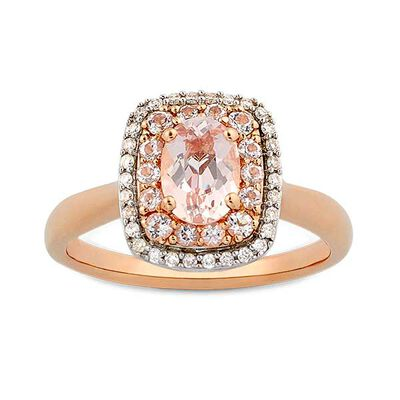 Morganite & Diamond Double Halo Ring 14K