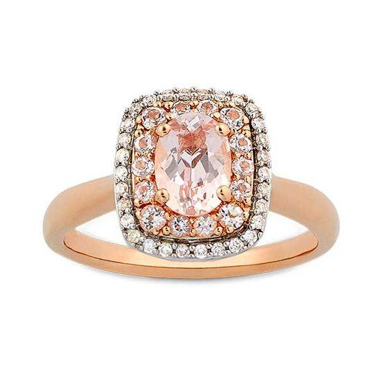Morganite & Diamond Double Halo Ring 14K