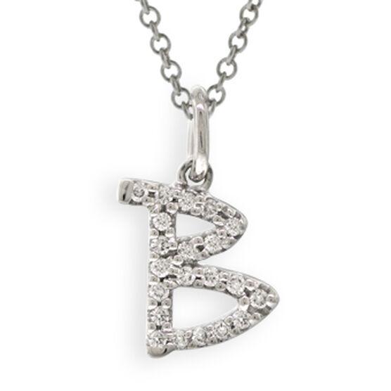 Tiny Initial Diamond Pendant 14K Letter 'B'