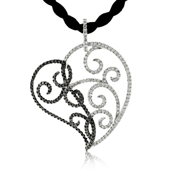 Black & White Diamond Open Heart Pendant 14K