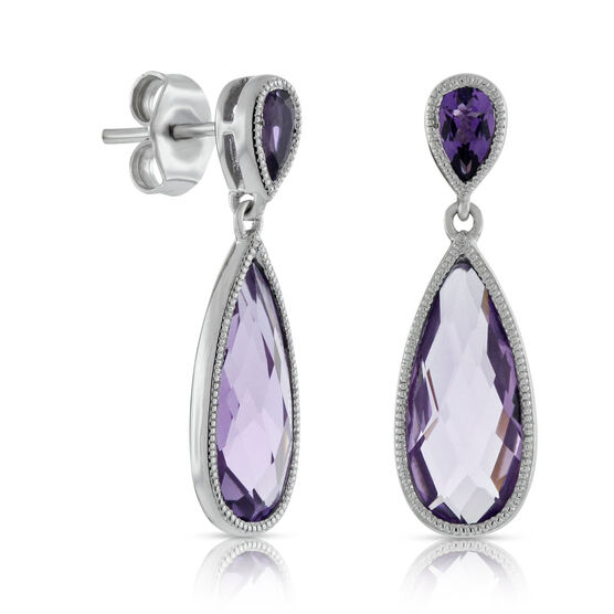 Amethyst Pear Drop Earrings 14K