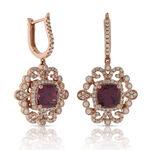 Rhodolite Garnet & Diamond Earrings 14K Rose