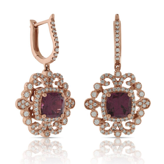 Rhodolite Garnet & Diamond Earrings 14K Rose
