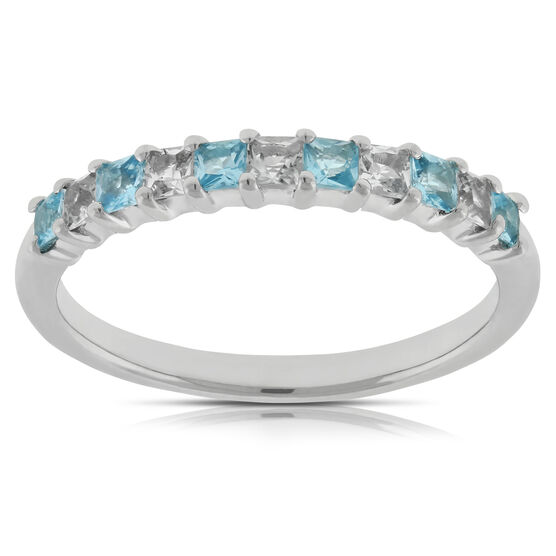 Blue & White Topaz Band 14K