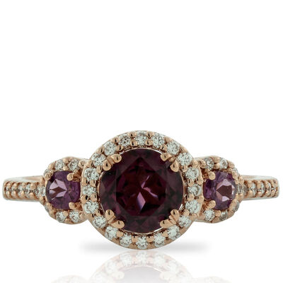 Rose Gold Rhodolite Garnet & Diamond Ring, 14K