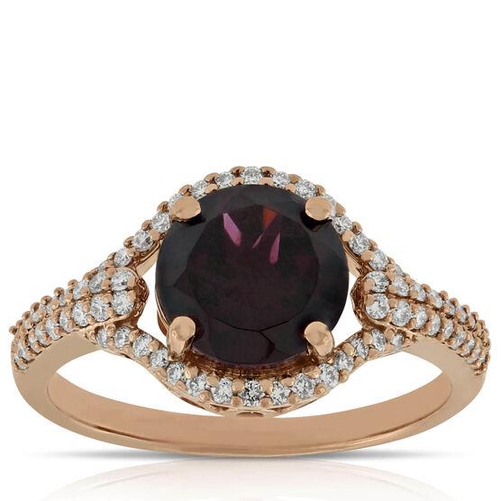 Rhodolite Garnet Ring 14K Rose