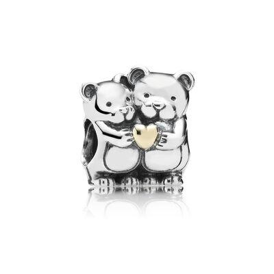 PANDORA Bear Hug Charm, Silver & 14K