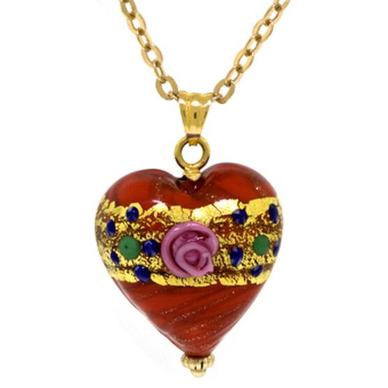 Toscano Collection Murano Glass Heart Pendant 18K