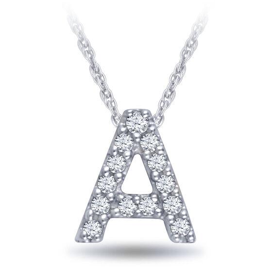 Diamond Initial Pendant 14K Letter 'A'