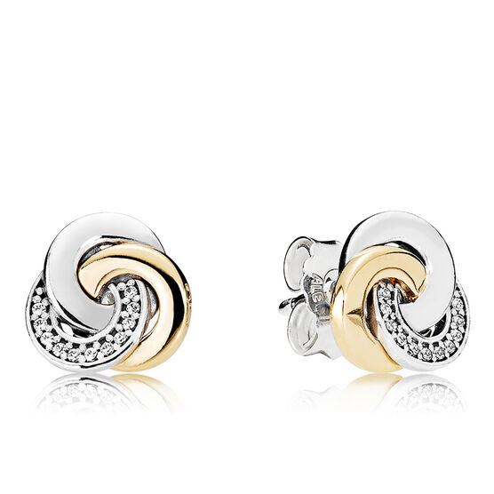 PANDORA Interlinked Circles CZ Earrings, Silver & 14K