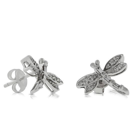 Dragonfly Diamond Earrings 14K