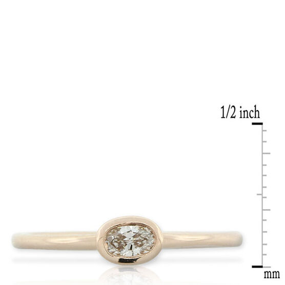 Oval Diamond Stackable Ring 14K Rose Gold