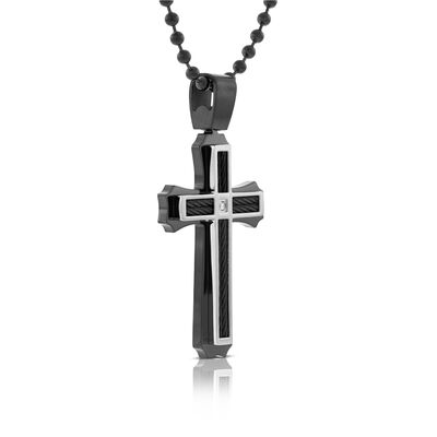 Men's Black Cross with Diamond in Sterling Silver
