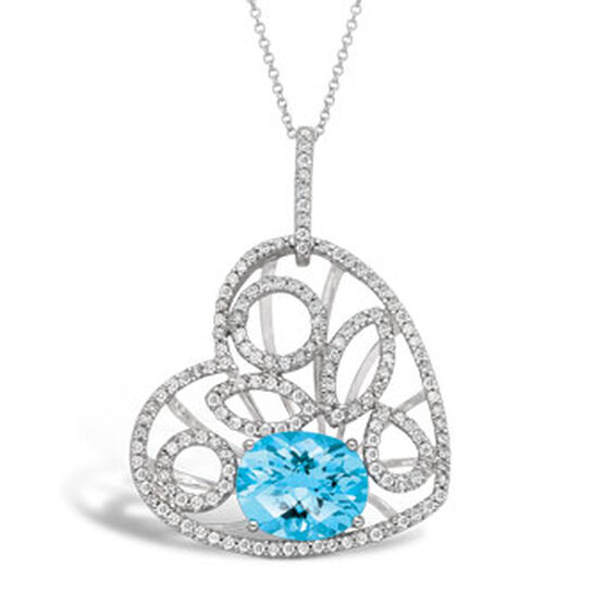 Blue Topaz & Diamond Heart Pendant 14K