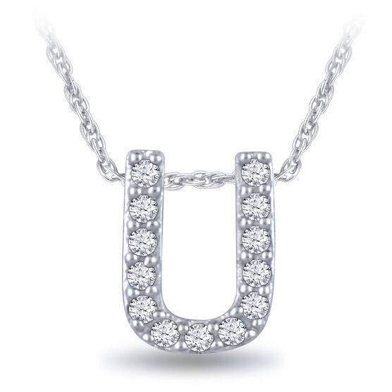 Diamond Initial Pendant 14K Letter 'U'
