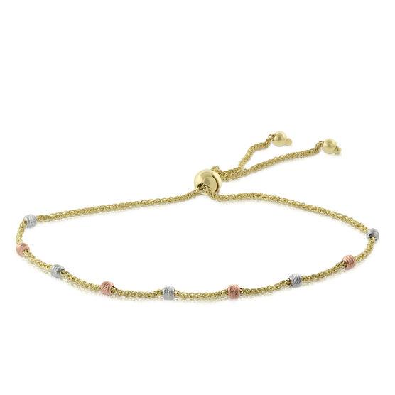 TRI Color Bolo Bead Bracelet 14K