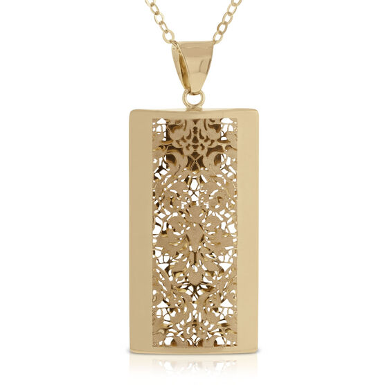 Toscano Collection Rectangle Pendant 14K