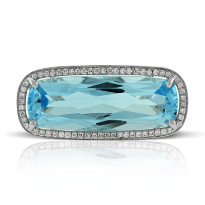 Cushion Blue Topaz & Diamond Ring 14K