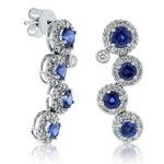 Round Sapphire & Diamond Cascade Earrings 14K
