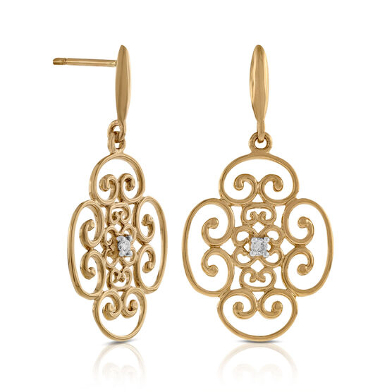 Scroll Diamond Earrings 14K