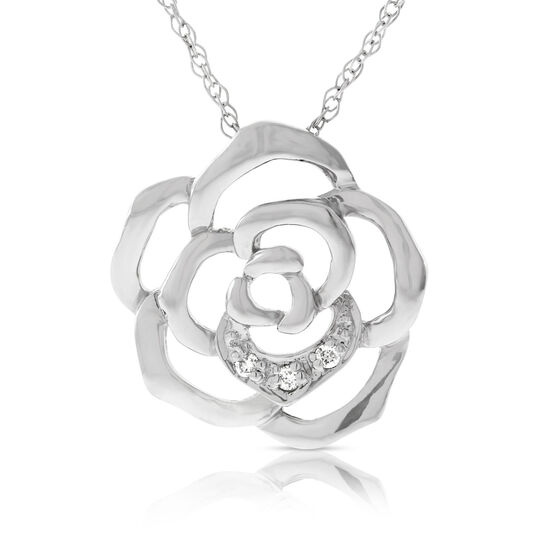 Blooming Rose Diamond Pendant 14K