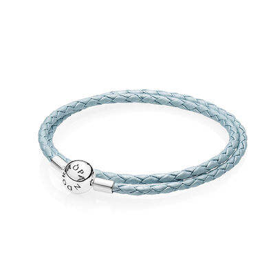 PANDORA Light Blue Double Leather  Bracelet