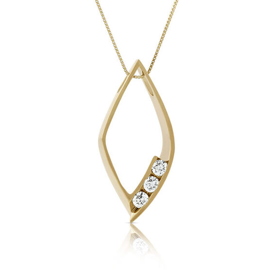 Three Stone Diamond Marquise Pendant 14K
