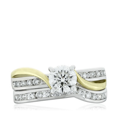 Two Tone Diamond Wedding Set 14K