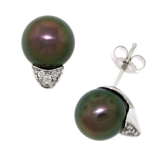 Tahitian South Sea Cultured Pearl & Diamond Earrings 14K