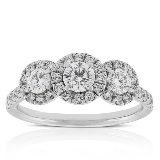 Signature Forevermark Three Stone Diamond Halo Ring 18K