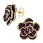 Pink Sapphire & Diamond Rose Earrings 14K