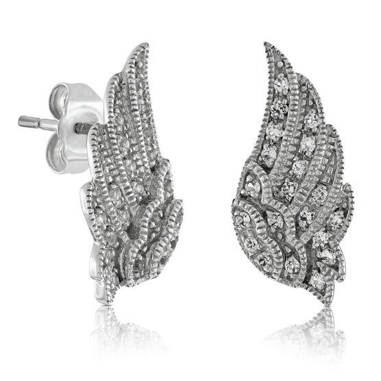White Topaz Wing Earrings 14K