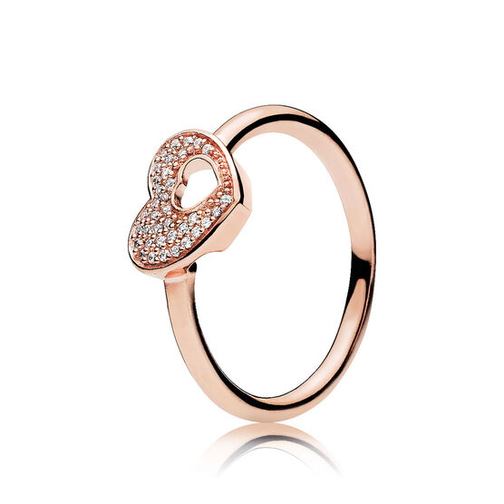 PANDORA Rose™ Shimmering Puzzle Heart Frame CZ Ring