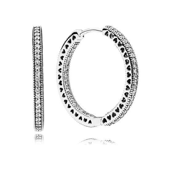 PANDORA Hearts of PANDORA Hoop CZ Earrings, 27 MM