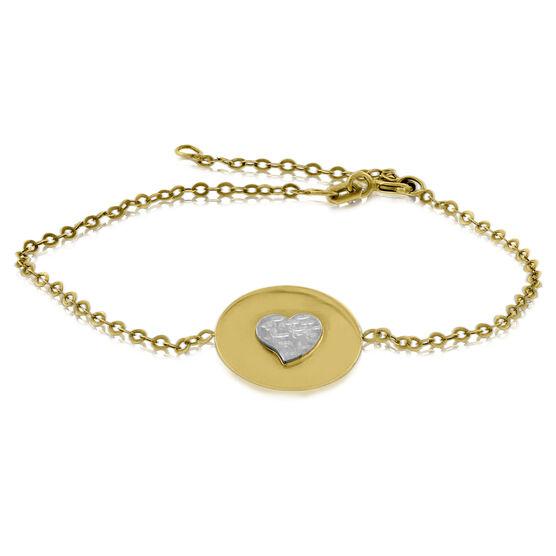 Heart Disc Bracelet 14K