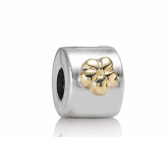PANDORA Flower Clip, Silver & 14K