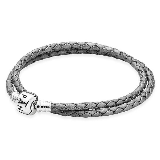 PANDORA SILVER GREY LEATHER CLASP BRACELET
