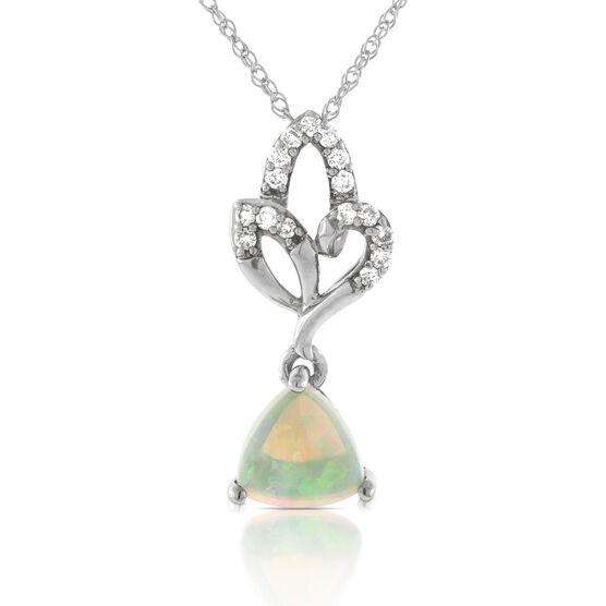 Opal & Diamond Drop Pendant 14K
