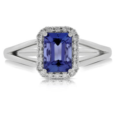 Tanzanite & Diamond Halo Ring 14K
