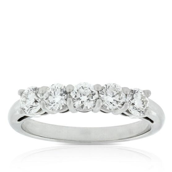 Five Diamond Ring, 1 Carat in Platinum