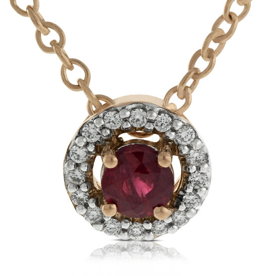 Rose Gold Ruby & Diamond Halo Pendant 14K