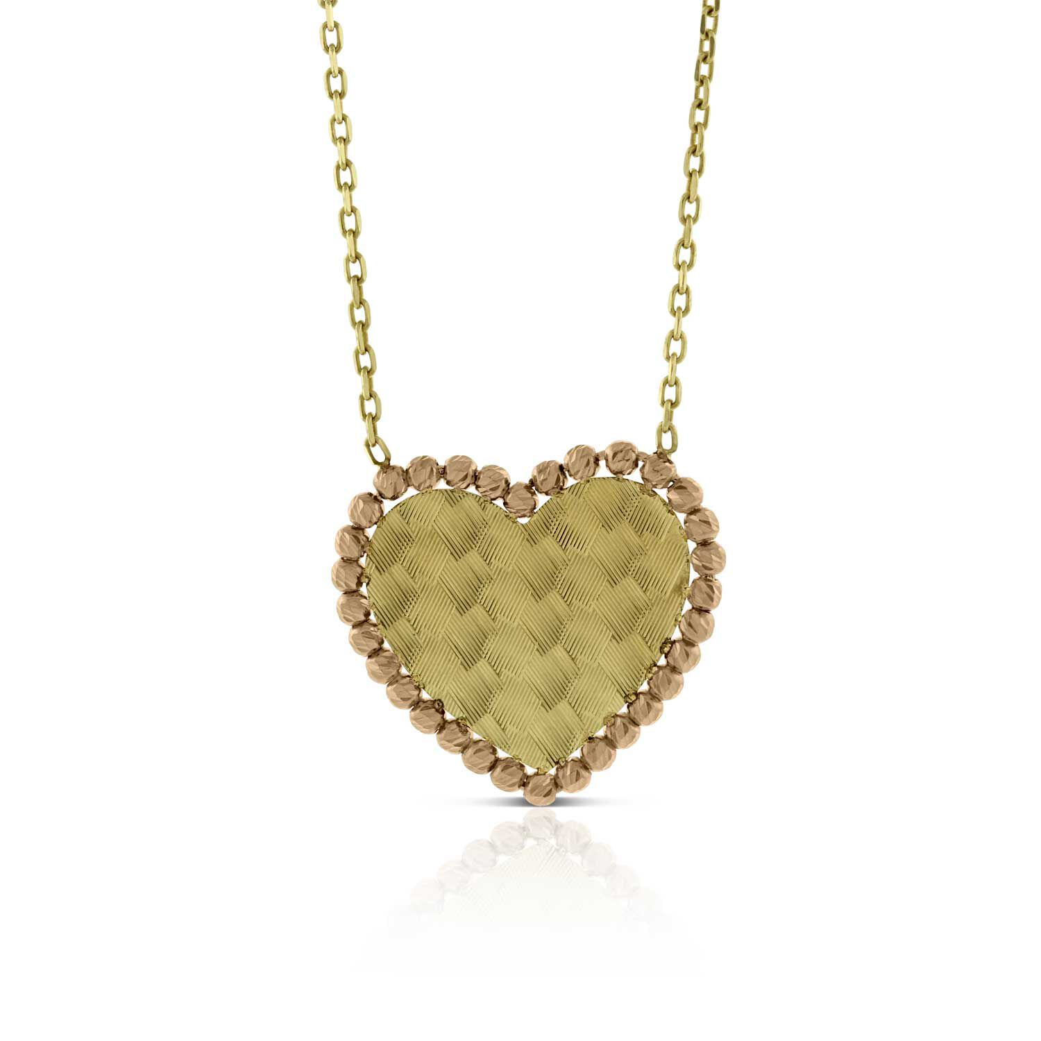 rose u0026 yellow gold toscano heart necklace 14k