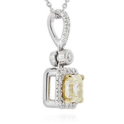 Radiant Cut Yellow Diamond Halo Pendant .71 Ct. Center, 18K