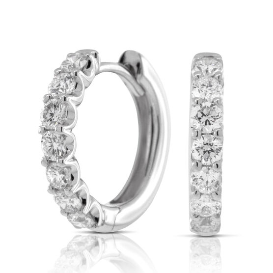 Half Carat Diamond Hoop Earrings 14K