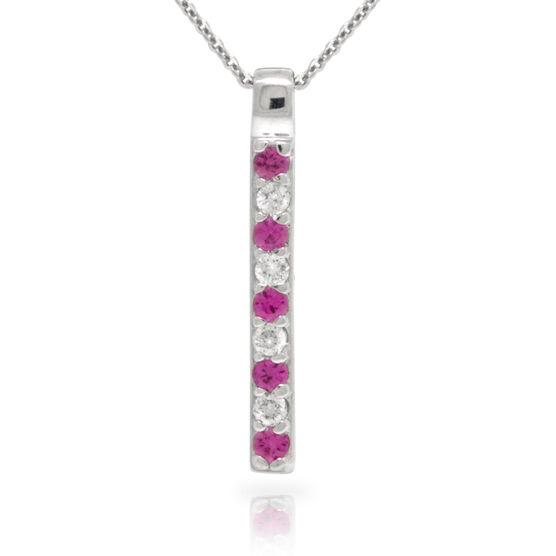 Pink Sapphire & Diamond Stick Pendant 14K
