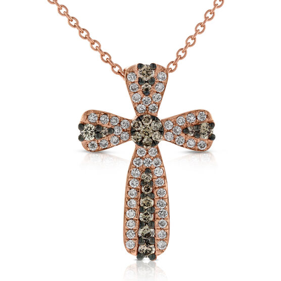 Rose Gold Brown & White Diamond Cross Pendant 14K